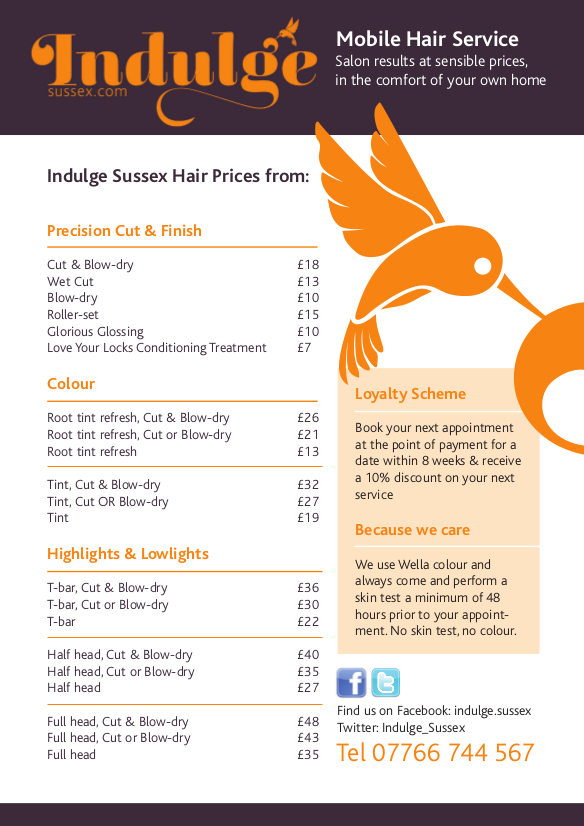 Indulge Sussex Price List